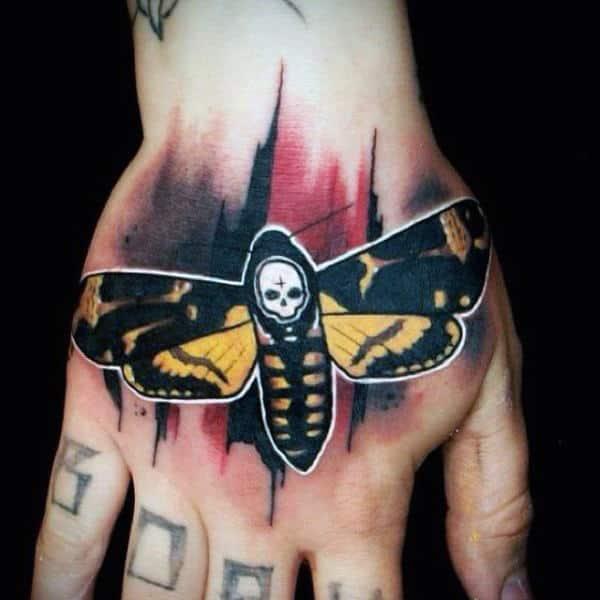 Gentleman With Moth Trash Polka Hand Tattoo