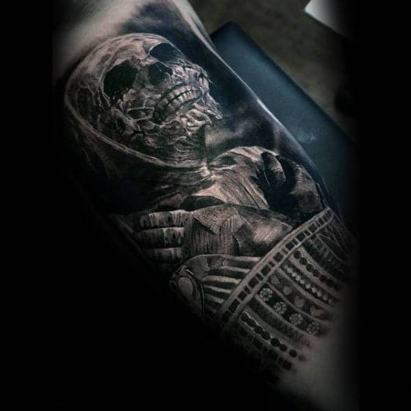 Gentleman With Mummy 3d Realistic Inner Arm Bicep Tattoo