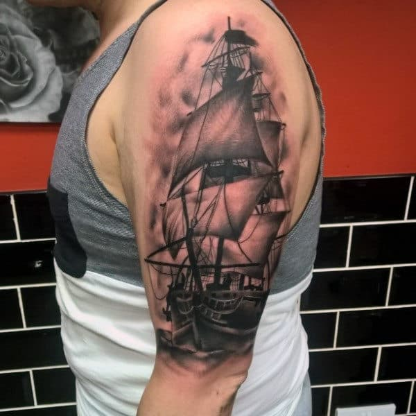 Gentleman With Nautical Shaded Black And Grey Ship Tattoo On Arms