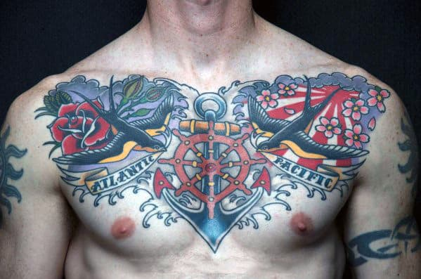 Gentleman With Nautical Swallows Traditional Upper Chest Tattoo