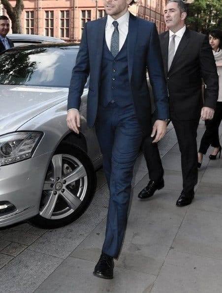 Gentleman With Navy Blue Three Piece Suit Black Shoes Style