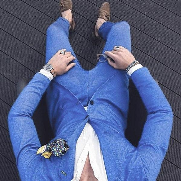 Gentleman With Navy Light Baby Blue Suit Brown Shoes Style