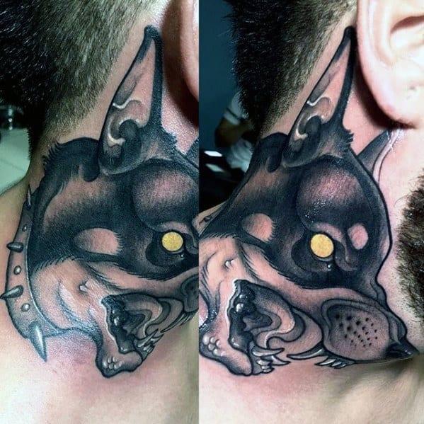 Gentleman With Neck Doberman Tattoo