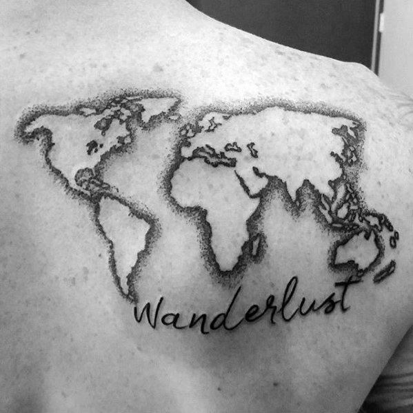 Gentleman With Negative Space World Map Wanderlust Upper Back Tattoo