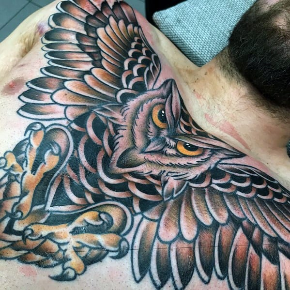Gentleman With Neo Traditional Owl Tattoo