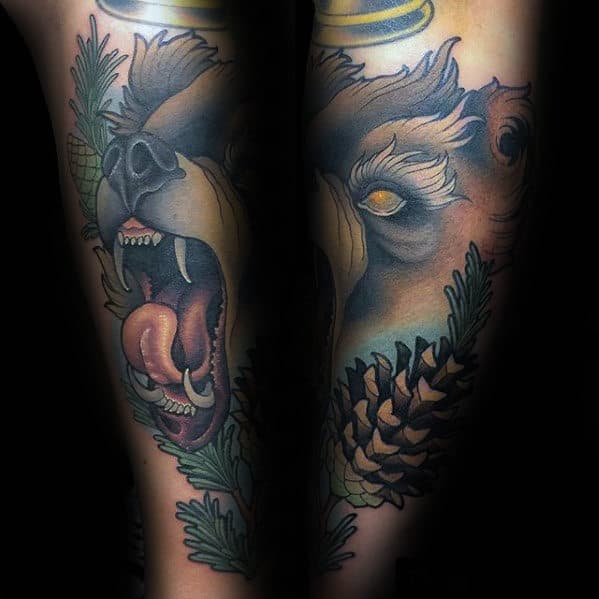 Gentleman With New School Bear And Pine Cone Forearm Sleeve Tattoo