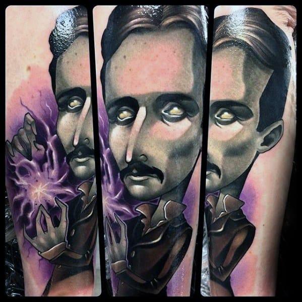 Gentleman With Nikola Tesla Tattoo