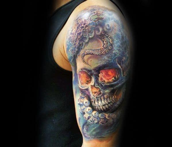 Gentleman With Octopus Skull Half Sleeve 3d Tattoo