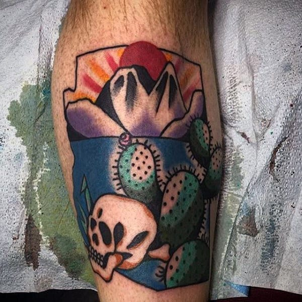 Gentleman With Old School Cactus Rising Sun Tattoo On Leg Calf