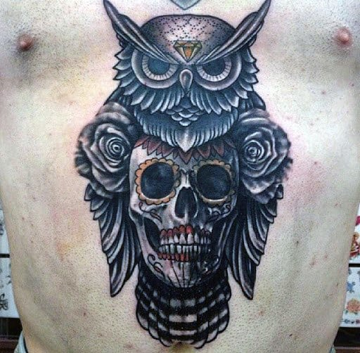 Gentleman With Old School Owl Skull And Rose Tattoos On Chest