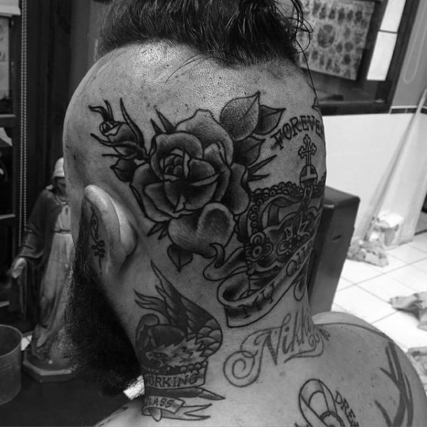 Gentleman With Old School Rose Flower Head Tattoo Design