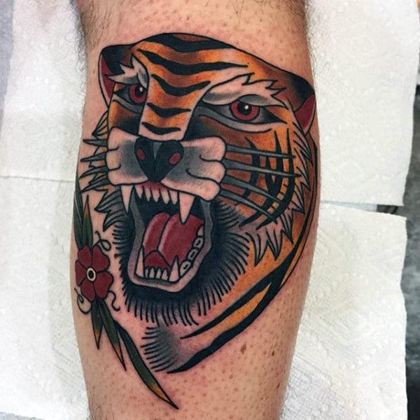 Gentleman With Old School Tiger Traditional Leg Tattoo Design