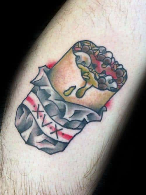 Gentleman With Old School Traditional Burrito Tattoo