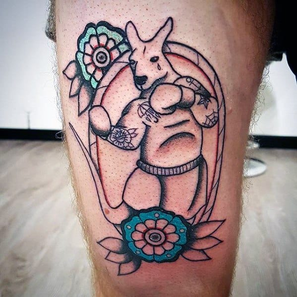 Gentleman With Old School Traditional Thigh Kangaroo Tattoo