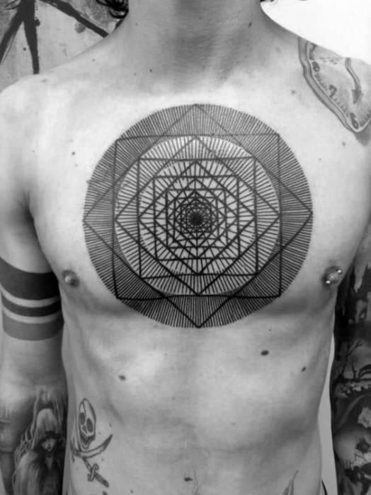 Gentleman With Optical Illusion Shapes And Lines Upper Chest Tattoos