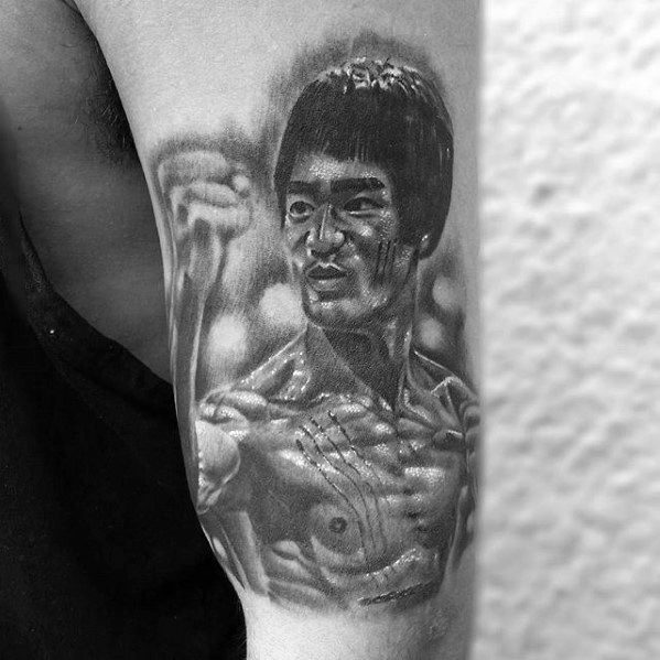 Gentleman With Outer Arm Bruce Lee Tattoo