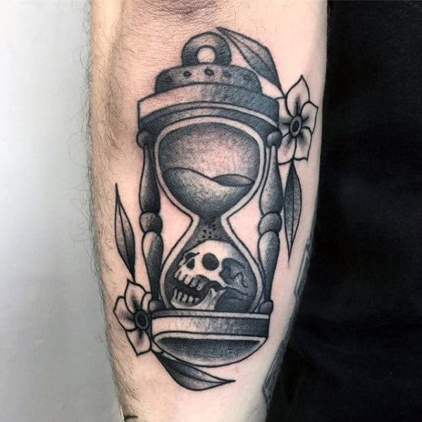 Gentleman With Outer Forearm Shaded Traditional Hourglass Tattoo