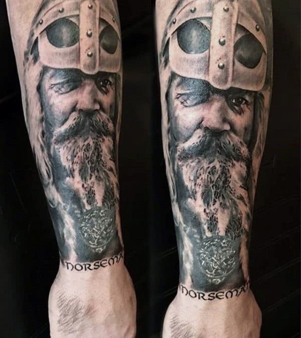 Gentleman With Outer Forearm Tattoo Design Of Odin