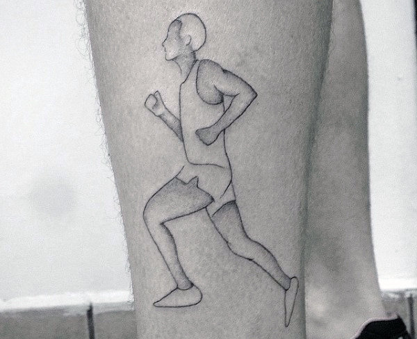 Gentleman With Outline Of Runner On Leg Tattoo
