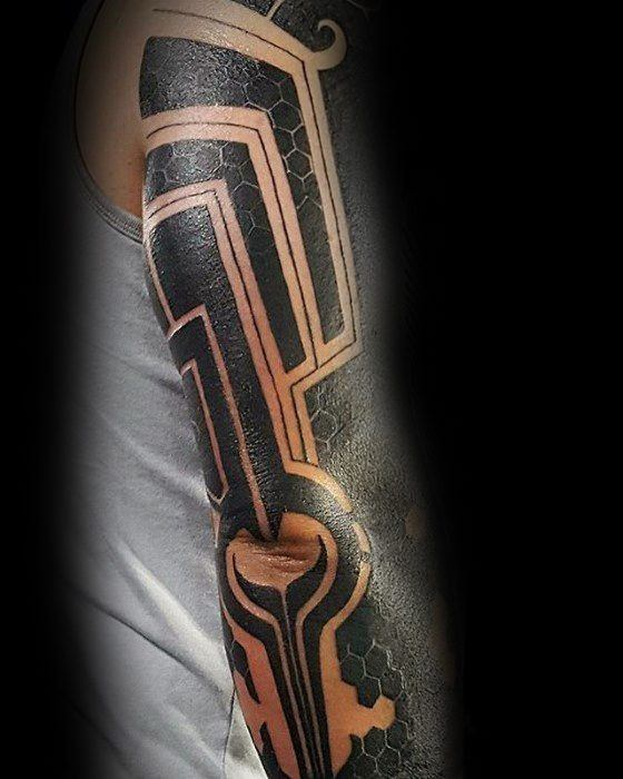 Gentleman With Pattern All Black Sleeve Negative Space Tattoo