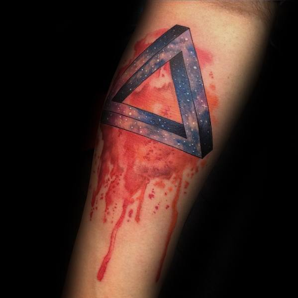 Gentleman With Penrose Triangle Tattoo Watercolor Inner Forearm
