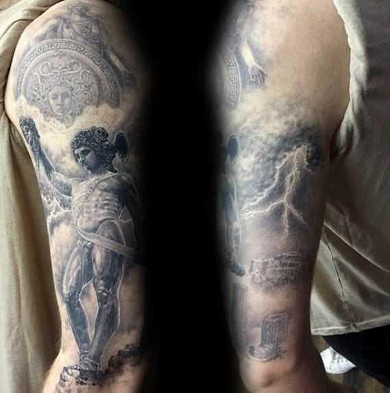 Gentleman With Perseus Tattoo On Arm