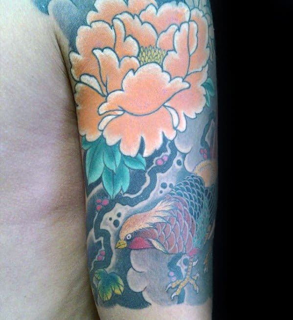 Gentleman With Pheasant Tattoo Half Sleeve