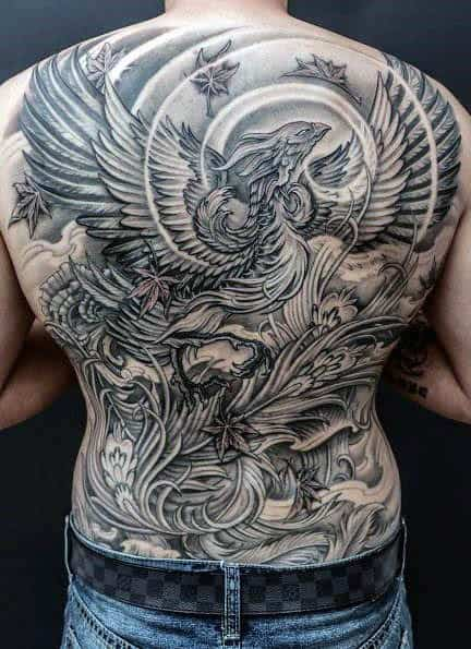 Gentleman With Phoenix Back Tattoo