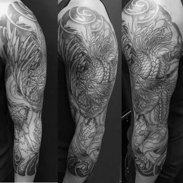 Gentleman With Phoenix Japanese Half Sleeve With Shaded Design