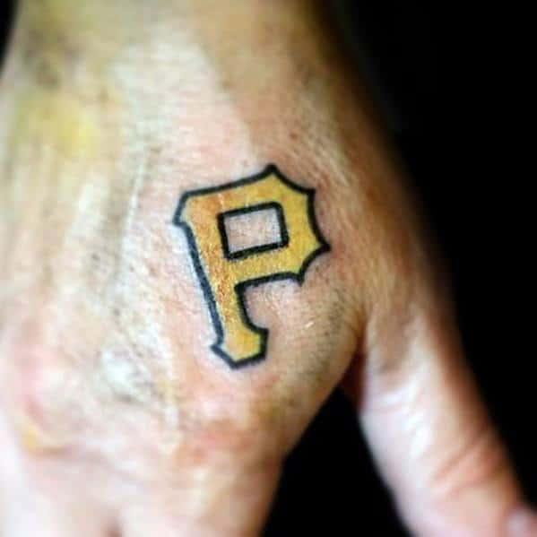 Gentleman With Pittsburgh Pirates Logo Tattoo On Hand