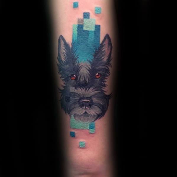 Gentleman With Pixel Dog Tattoo On Outer Arm