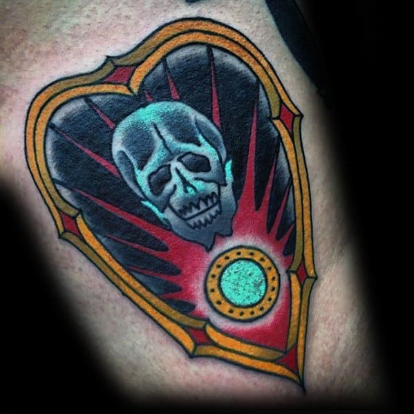 Gentleman With Planchette Skull Arm Tattoo