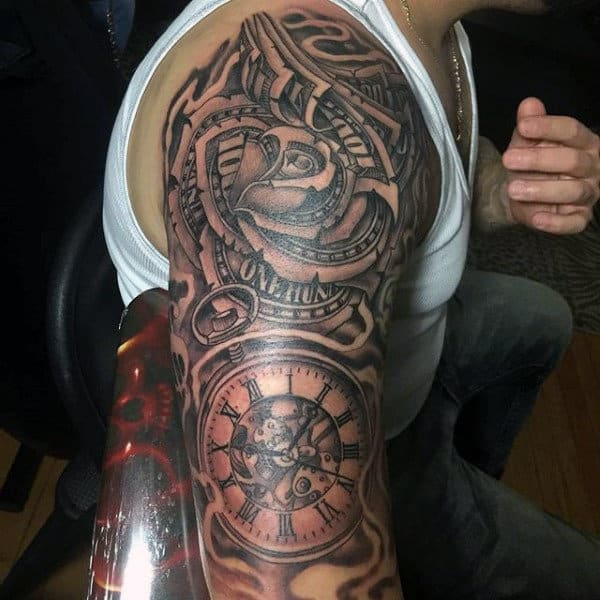 Gentleman With Pocket Watch And Money Rose Sleeve Tattoo