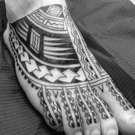 Gentleman With Polynesian Foot Tribal Tattoo
