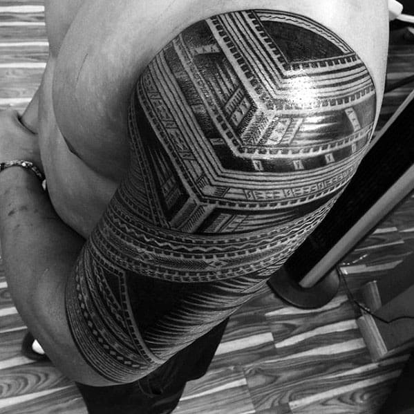Gentleman With Polynesian Pattern Tribal Half Sleeve Tattoo