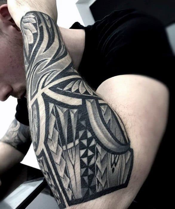 Gentleman With Polynesian Unique Forearm Tattoo Design