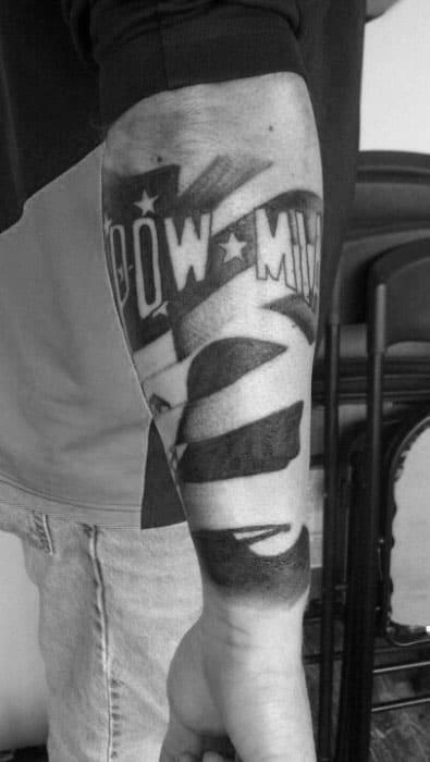 Gentleman With Pow Mia Tattoo On Inner Forearm
