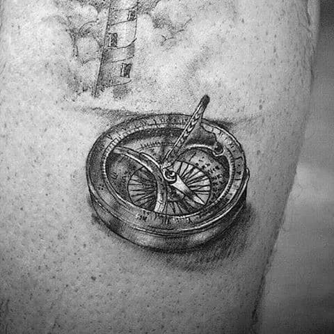 Gentleman With Quarter Sized 3d Realistic Compass Tattoo