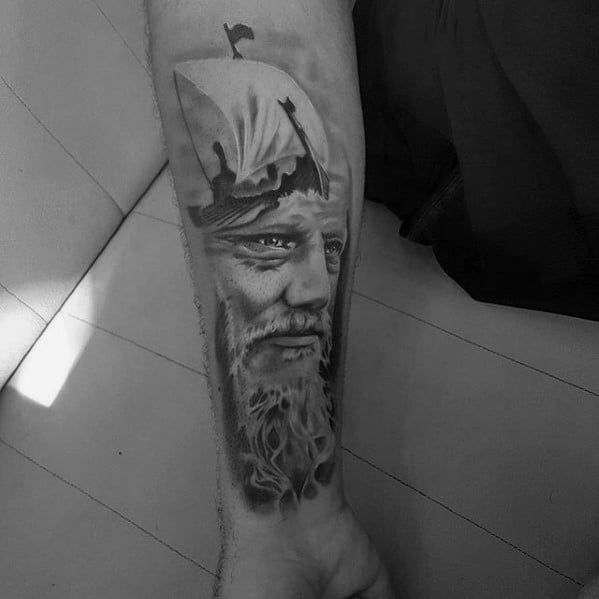 Gentleman With Ragnar Viking Ship Inner Forearm Tattoo