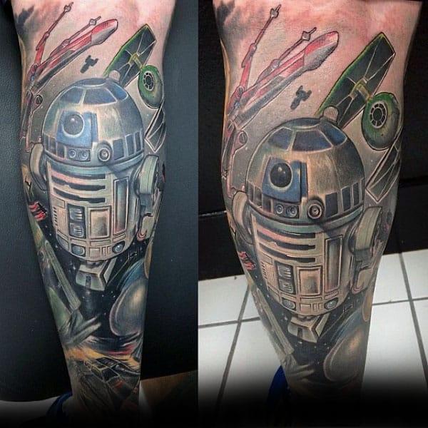 Gentleman With Rd2d Star Wars Themed Leg Sleeve