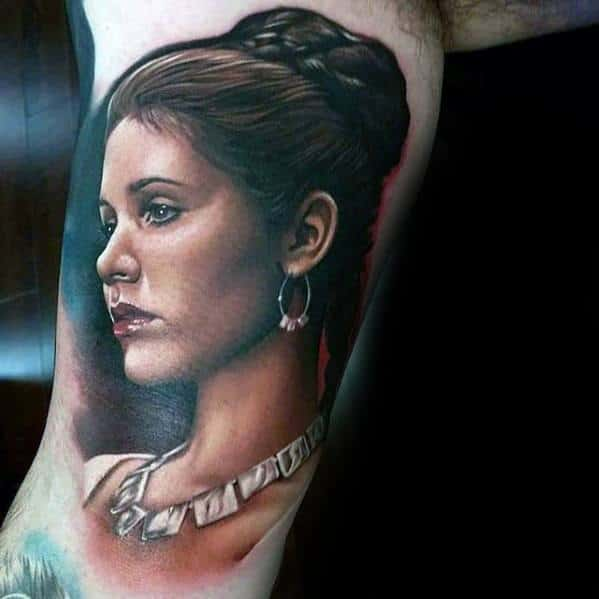 Gentleman With Realistic 3d Female Portrait Tattoo On Inner Arm