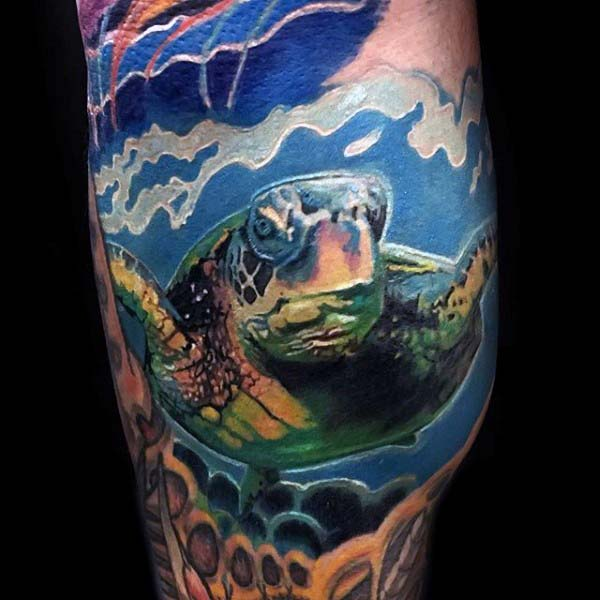 Gentleman With Realistic Arm Tattoo Of Turtle