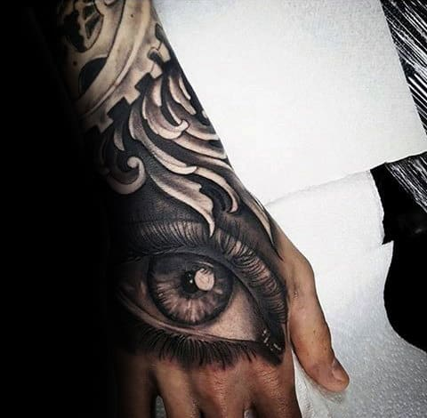 Gentleman With Realistic Eye Filigree Hand Tattoo