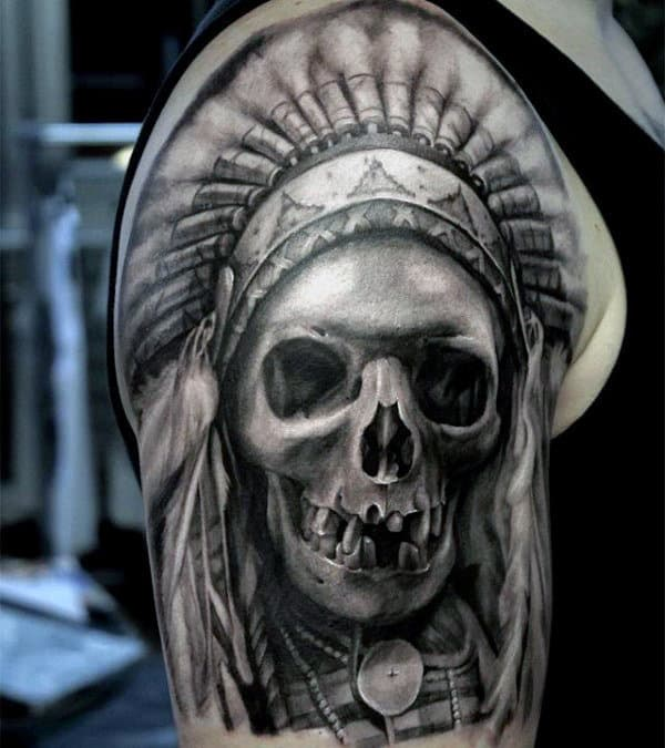 Gentleman With Realistic Indian Skull Half Sleeve Tattoo Design