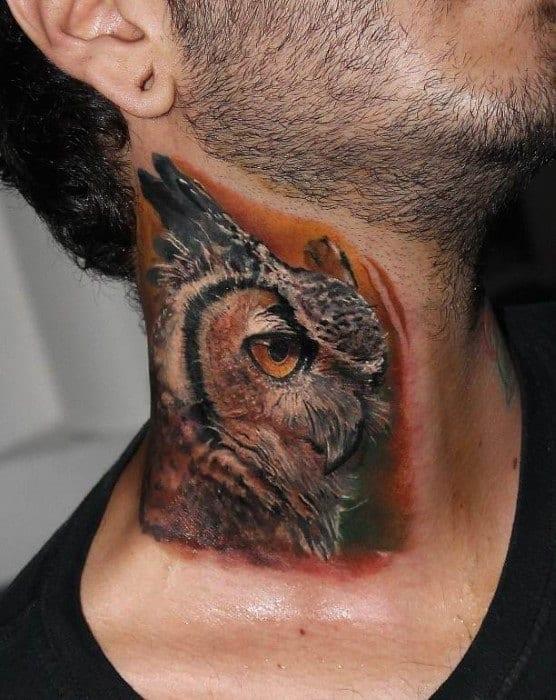 Gentleman With Realistic Orange Background Owl Neck Tattoo