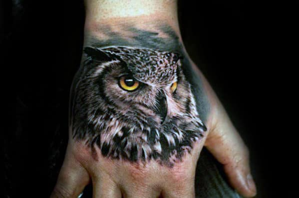 Gentleman With Realistic Owl Hand Tattoo