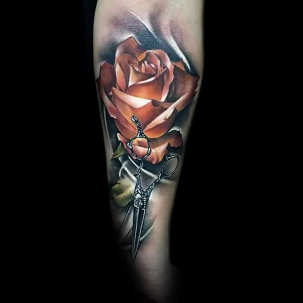 Gentleman With Realistic Red Rose Flower And Scissor Tattoo On Forearm