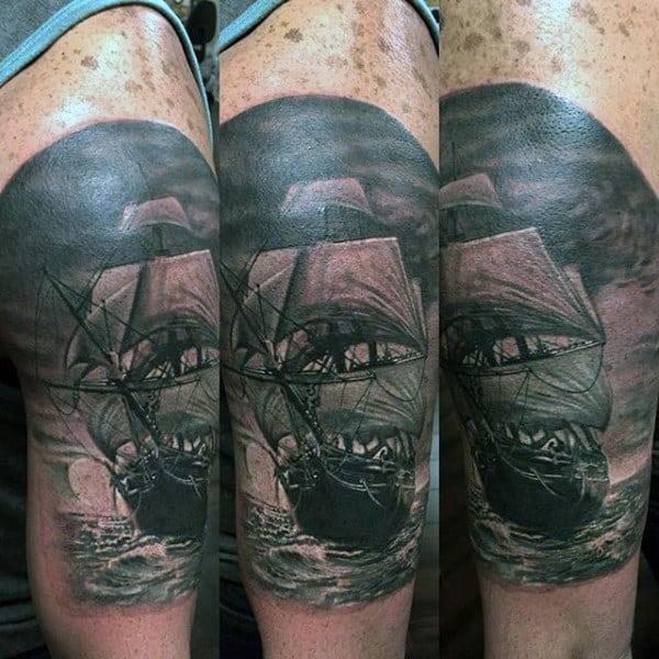 Gentleman With Realistic Sailing Ship Nautical Arm Tattoo