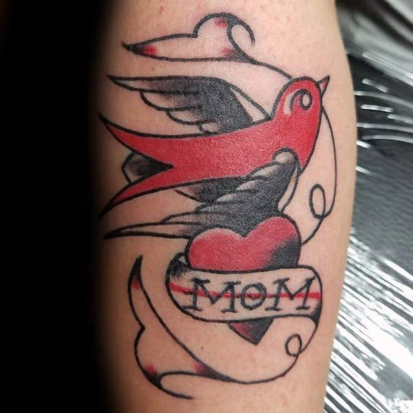 Gentleman With Red And Black Ink Leg Calf Traditional Mom Tattoo