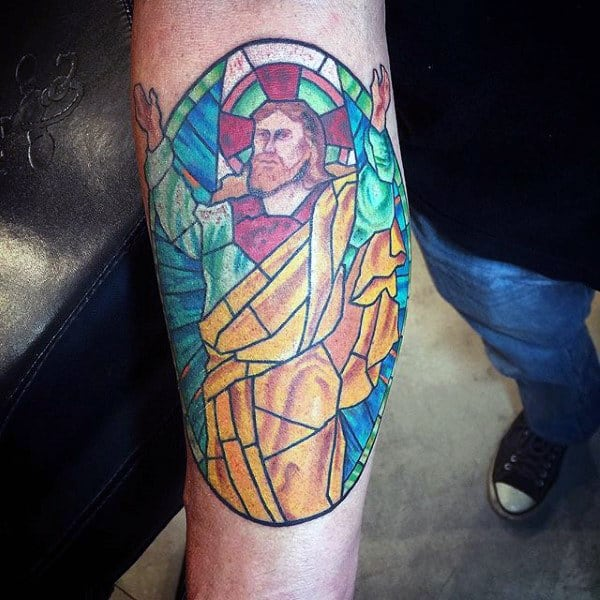 Gentleman With Religious Stained Glass Inner Forearm Tattoo Colorful Ink Style